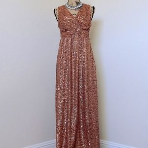 HP Rose Gold Sequin Floor Length Maternity Gown M